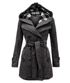 Baby It's Cold Outside... Hooded Coat, Charcoal