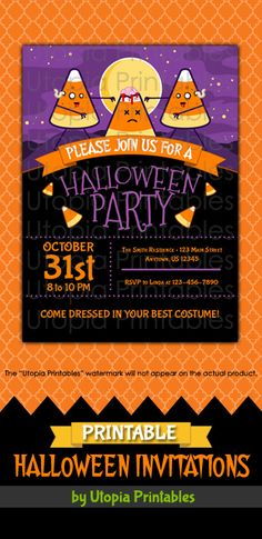 Printable Halloween party invitation with cartoon zombie brain eating candy corn. Premium professional digital party invite templates with unique designs to fit your Halloween idea, style or theme. Perfect design for cute, funny creepy or spooky themed parties for kids and adults. This customized announcement card will be personalized with your custom text. DIY file that you can download and print at home.