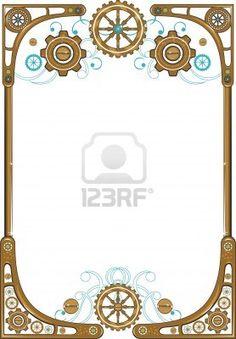 Steampunk frame Stock Photo