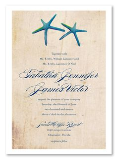 This charming beach wedding invitation has a decorative driftwood background, perfect for those who love the big blue ocean.