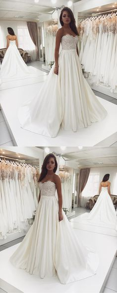 Sweet Heart Satin Beaded Wedding Dress, A-Line Backless Lace Top Wedding Dress, D1084