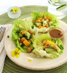 Inspired Edibles: Mango Chickpea Lettuce Cups with a Spicy Peanut Sauce