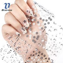 Blueness 3D Nail Art Stickers Beauty Summer 24 Design White Black Flower Nail Foil Manicure Decals Foil Decorations Tools JH162(China (Mainland))