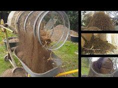 cement mixer to compost, dirt, soil Sifter - self made Veg Garden, Garden Soil, Farm Projects, Garden Projects, Compost Soil, Worm Composting, Compost Tumbler, Farm Plans, Diy Generator