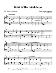 Great is Thy Faithfulness, free hymn arrangements at Piano Song Download!