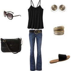 Black tank, jeans and sandals, created by tamara-white-chase on Polyvore