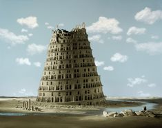 """La Tour de Babel (The Tower of Babel)"" - Didier Massard (2012) (These are meticulously constructed diorama-like landscapes that Massard then photographs! Amazing...)"