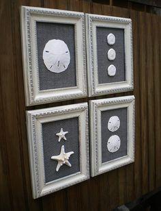 Cottage Chic Sea Shell Wall Art, Sea Shell Home Decor, Coastal Decor, Starfish Decor, Beach Wall Art