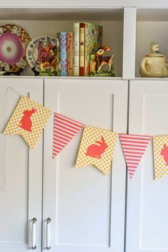 Aesthetic Nest: Crafting: Easter Bunny Banner and Free Bunny Template (Tutorial)  So easy with the We R Memory Keepers 1-2-3 Bannner Punch Board.  #HSNPartyPack #Easter