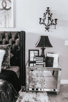 Chic Chanel Bedroom Decor Chanel Prints Black White Grey Bedroom Blondie in the City by Hayley Larue greybedrooms # Silver Bedroom Decor, Glam Bedroom, Modern Bedroom Decor, Apartment Bedroom Decor, Bedroom Ideas, Bedroom Designs, Cheetah Bedroom, Bedroom Decor For Women, Gothic Bedroom