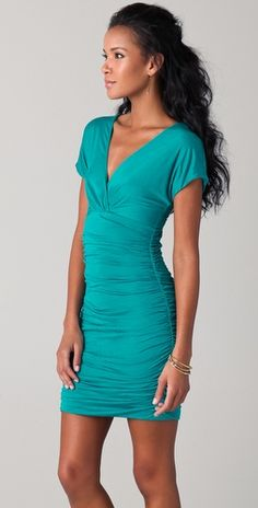Love the V-neck, and scrunges on the sides. One of my favorite colors! Something to wear to a fun party or formal dinner