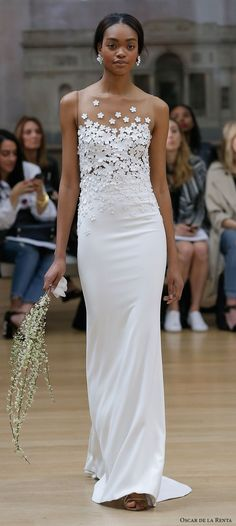 Oscar de la renta spring 2018 bridal sleeveless illusion jewel heavily embellished bodice elegant sheath wedding dress sweep train (17)