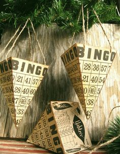 Another great idea for Bingo Cards that I am Bringing to the show. Bingo Card Cones with Yahtzee score sheets Music Crafts, Fun Crafts, Christmas Holidays, Christmas Crafts, Christmas Ornaments, Bingo Party, Bingo Blitz, Board Game Pieces, Paper Cones