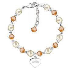 November Swarovski Topaz Crystal & Sterling Silver Heart Bracelet