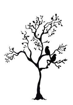 Whimsical Tree with Two Birds by Vlines on Etsy