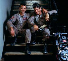 Bill Murray and Dan Aykroyd (set of Ghost Busters)