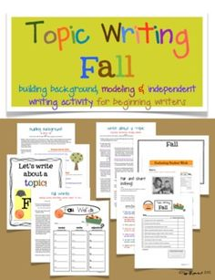 Topic Writing FALL lessons for beginning writers $