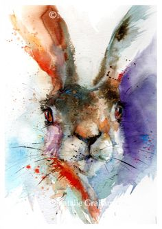 Natalie Graham - Lesley, the watercolour hare - Artists & Illustrators - Original art for sale direct from the artist Watercolor Animals, Watercolor Paintings, Watercolours, Animal Paintings, Animal Drawings, Bunny Painting, Rabbit Art, Bunny Art, Wildlife Art