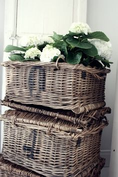 hamptons style white hydrangeas in a basket Old Wicker, Wicker Baskets, Rustic Baskets, Hamptons Style Homes, The Hamptons, Rama Seca, French Baskets, Bountiful Baskets, Natural Weave