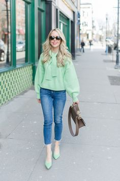 Mint green is a great spring color to up your look.  Try it mixed with denim, other pastels, and of course white!  Style inspiration | spring style | spring outfits | spring fashion | blogger style | cute outfits | Mint green outfit