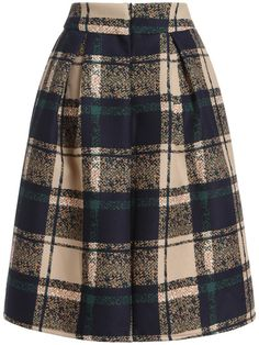 Shop Khaki Vintage Plaid Midi Skirt online. SheIn offers Khaki Vintage Plaid Midi Skirt & more to fit your fashionable needs.