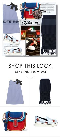"""""""Summer Date: The Drive-in"""" by sweta-gupta ❤ liked on Polyvore featuring J.Crew, Rosetta Getty, Marc Jacobs and STELLA McCARTNEY"""