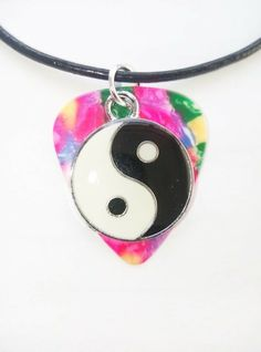 """Confetti Fender guitar pick necklace yin yang charm size - 17"""" to 19"""" xmas gift #12345market #Charm Guitar Pick Necklace, Chain Pendants, Yin Yang, Xmas Gifts, Confetti, Coin Purse, Pendant Necklace, Pink, Ebay"""