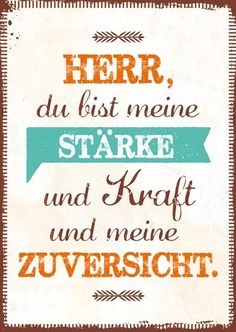 Postkarte mit Zitat Format 14,8 cm x 10,5 cm Schriftmotiv Zitat: HERR, du bist meine Stärke und Kraft und meine Zuversicht.