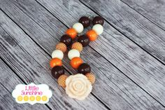It's Fall Chunky Bubblegum Necklace by LittleSunshineGrace on Etsy