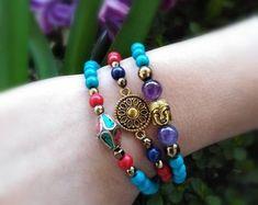 Boho chakra bracelet, with amethyst lapis lazuli and turquoise gemstones. Buddha and mandala jewelry. Healing Meditation, Chakra Healing, Crystal Healing, Mandala Jewelry, Gemstone Jewelry, Unique Jewelry, Chakra Bracelet, Healing Bracelets, Amethyst Necklace