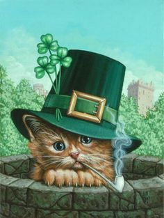 Celebrate St Patrick's Day with Kitty Kelly ~*~ Jill Bauman, St Patricks Day Cards, Happy St Patricks Day, Crazy Cat Lady, Crazy Cats, Animals And Pets, Cute Animals, Cat Drawing, Beautiful Cats, Cat Art