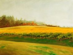 """enter autumn fog - willamette valley . 2014 . original $375 . prints starting at $22 . 12"""" x 16"""" . oil . The vineyards resist the coming change of season, row by row."""