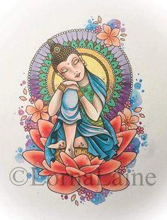 Buddha tattoo print buddha painting tattoo design spiritual art watercolour illustration mandal tattoo artist debarshi roychoudhury at palak Mandala Design, Mandala Art, Mandala Buddha, Buddha Art, Mandala Painting, Mandala Tattoo, Buddha Drawing, Buddha Painting, Watercolor Illustration