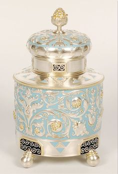 Faberge Silver and Enamel Tea Caddy