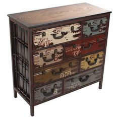 Wooden  / metal #drawer with pu leather 'suitcases' www.inart.com