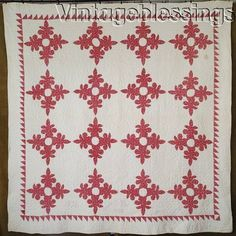 Dtd 1856-1892 Antique TURKEY RED & White Applique QUILT Indiana Wise Family
