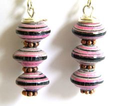 Paper Bead Jewelry - Earrings Tiny Saucers - #1426 by BeadAmigas on Etsy https://www.etsy.com/listing/194001625/paper-bead-jewelry-earrings-tiny-saucers