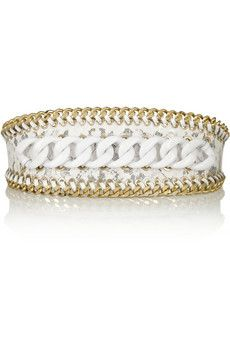 Balmain Chain-embellished lace and PVC waist belt   NET-A-PORTER