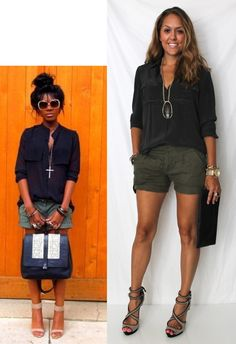 Paired olive linen shorts with a black silk camp shirt, add neutral heels and a clutch making this look perfect for a night out. (Change the look by wearing low brown wedge sandals and a brown crossbody bag to give the look that safari feel.)