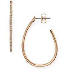 Nadri Pave Oval Hoop Earrings (£45) ❤ liked on Polyvore featuring jewelry, earrings, rose gold, pink gold jewelry, rose gold pave earrings, pink gold earrings, pave jewelry and rose gold hoop earrings
