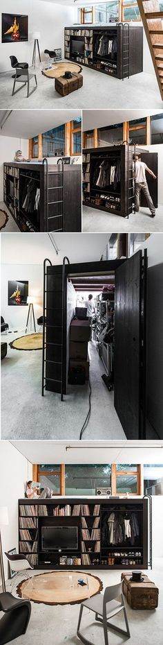 """When designer Till Könneker moved into a small apartment studio with little storage space, he decided to create his own. Simply called the """"Living Cube"""", Könneker designed a storage unit which doubles as furniture, displaying his television, clothes and vinyl collection."""