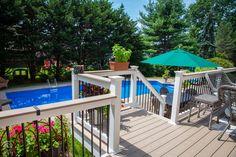 #outdoorliving #railing #outdoorlivinginspiration #railinginspo #DIY #vinylrailing   #FinylLine #cocktailrail Vinyl Deck Railing, Outdoor Stair Railing, Deck Railings, Outdoor Living, Outdoor Decor, Diys, Backyard Designs, Building, Home Decor