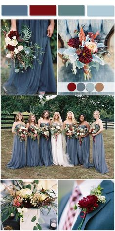 Dusty Blue and Cranberry Wedding Colors Inspiration.
