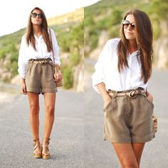 classic white shirt, pleated shorts. easy summer style
