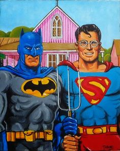 American Gothic Painting, American Gothic House, American Gothic Parody, American Art, Batman Art, Batman And Superman, Spiderman, Original Superman, Grant Wood