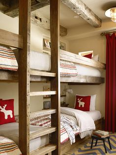 Built in bunks- COOL! Kelly and Abramson Architecture: Fantastic ski chalet bunk room with exposed wood beamed ceiling. The built-in bunks are .