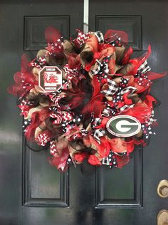 Hey, I found this really awesome Etsy listing at https://www.etsy.com/listing/199148468/house-divided-burlap-wreath-south