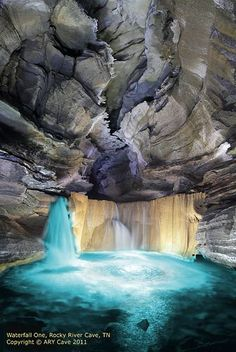 Waterfall, Rocky River Cave, Warren Co,Tennessee, USA. I live in Tennessee and have never heard of this! I wanna go! Places Around The World, The Places Youll Go, Places To See, Around The Worlds, Beautiful Waterfalls, Beautiful Landscapes, Dream Vacations, Vacation Spots, Rocky River