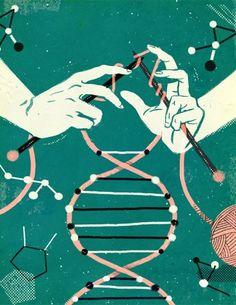 Epigenetics--between nature and nurture! The future of DNA research. Cover illustration for the McGill News. Art And Illustration, Illustrations, Do It Yourself Design, Plakat Design, Design Graphique, Grafik Design, Art Design, Fiber Art, Fantasy Art