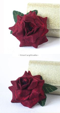 $34.92  Unique handmade jewelry gifts for Women   Felted wine red rose brooch by NineCarpStudio   Tawny port - Trendy colors autumn winter 2017   Christmas gift idea for wife #unique #handmade #jewelry
